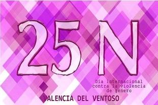 Valencia del Ventoso se tiñe de morado para conmemorar el Día Internacional contra la violencia de género