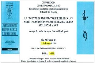 Las Antiguas Ordenanzas Municipales del Concejo de Fuente del Maestre serán tratadas en una conferencia impartida por José Pascual