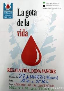 Las donantes de sangre en Medina de las Torres para este viernes tendrán que comunicarlo por teléfono previamente
