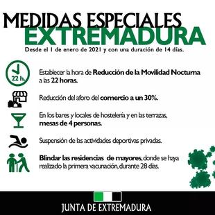 Extremadura registra 936 nuevos positivos a covid-19 hoy día de Nochevieja, la peor cifra en lo que va de pandemia