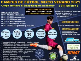 Fuente del Maestre acogerá el Campus de Fútbol Mixto Verano 2021 `Jorge Troiteiro & Enjoy Keepers Academy´