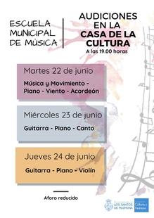 La Escuela de Música de Los Santos de Maimona clausura su curso con una serie de audiciones en la Casa de la Cultura