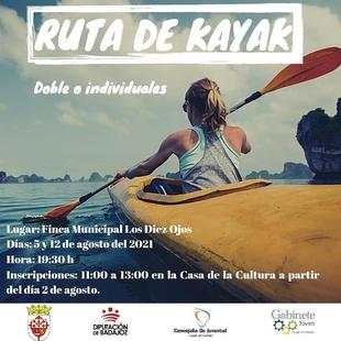Los días 5 y 12 de agosto tendrá lugar la I Ruta de Kayak en Fuente del Maestre