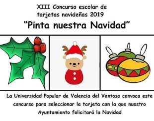 La Universidad Popular de Valencia del Ventoso convoca el concurso XIII Concurso escolar de tarjetas de Navidad