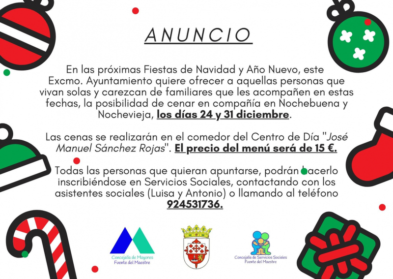 El Ayuntamiento fontanés organiza las cenas de nochebuena y nochevieja en el Centro de Día, para personas que vivan solas