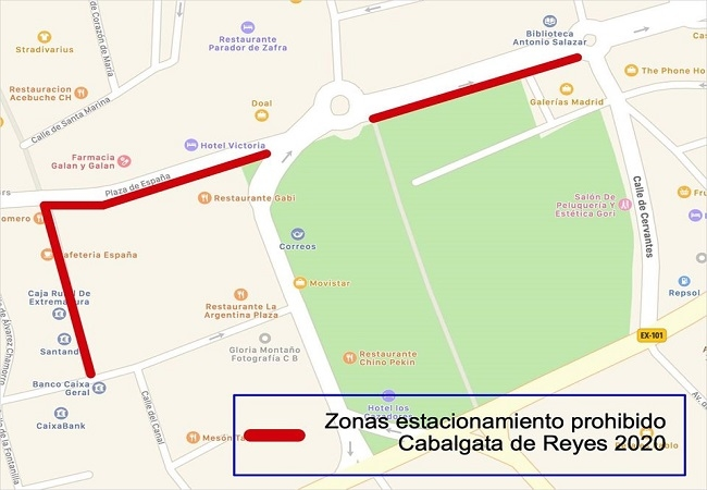 Zonas afectadas por la Cabalgata de Reyes en Zafra