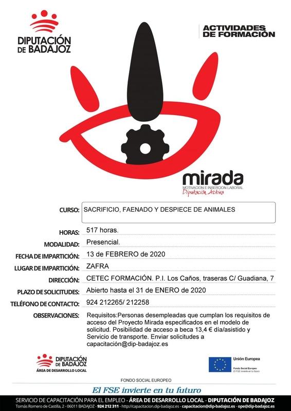 La Diputación de Badajoz impartirá en Zafra el curso de `Sacrificio, faenado y despiece de animales´