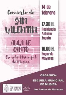 El Aula de Canto de la Escuela Municipal de Música de Los Santos ofrecerá hoy dos conciertos para celebrar el Día de San Valentín