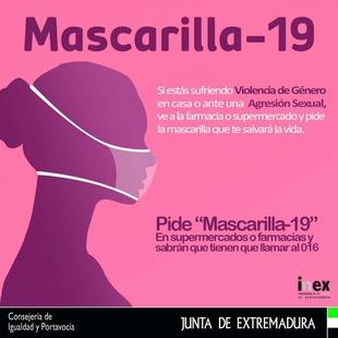 La Junta se suma a la campaña 'mascarilla 19', el código clave para proteger a las mujeres víctimas de la violencia machista
