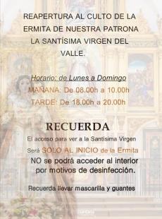 La ermita de la Virgen del Valle de Valencia del Ventoso abrirá este domingo