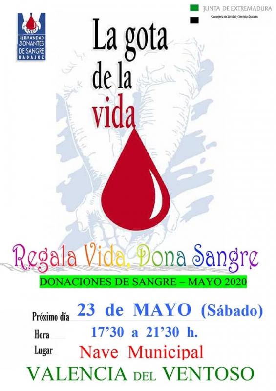Nuevas donaciones de sangre este próximo sábado en Valencia del Ventoso