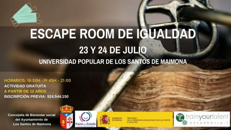 La Concejalía de Bienestar Social de Los Santos de Maimona organiza un Escape Room sobre Igualdad