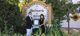 El Balneario El Raposo recibe de la mano de AENOR el Sello SAFE TOURISM CERTIFIED