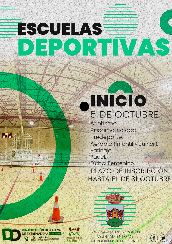 Abiertas las matriculaciones para las Escuelas Deportivas de Burguillos del Cerro para la temporada 20/21