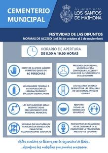 El Ayuntamiento de Los Santos establece un protocolo de seguridad para el cementerio con motivo de la Festividad de Todos los Santos