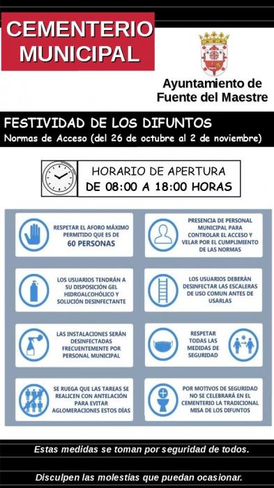 Fuente del Maestre publica la normativa de acceso al cementerio municipal por la Festividad de los Difuntos