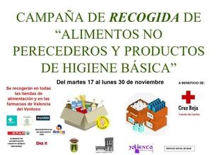 Valencia del Ventoso comienza una campaña de recogida de alimentos y productos de higiene básica