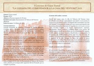 El Ayuntamiento de Valencia del Ventoso convoca el I Concurso de Guion Teatral `La Llegada del Comendador a la Casa del Ventoso´