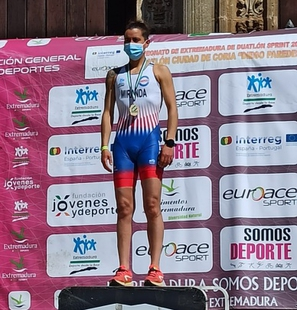 Cristina Miranda campeona de Extremadura de Duatlón en categoría Paratriatlón