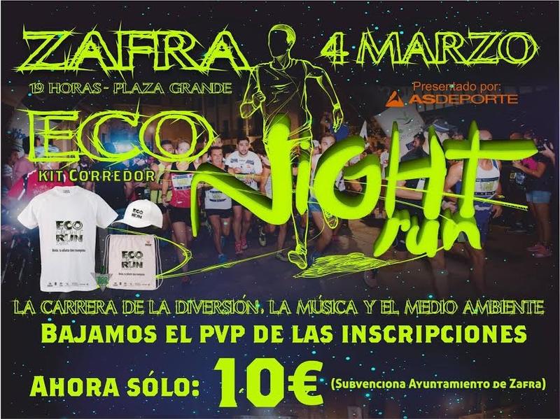 El Ayuntamiento de Zafra contribuye en el precio de las inscripciones de la Eco Night Run