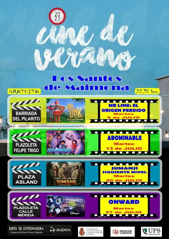 Vuelve el cine de verano a Los Santos de Maimona cada martes del mes de julio