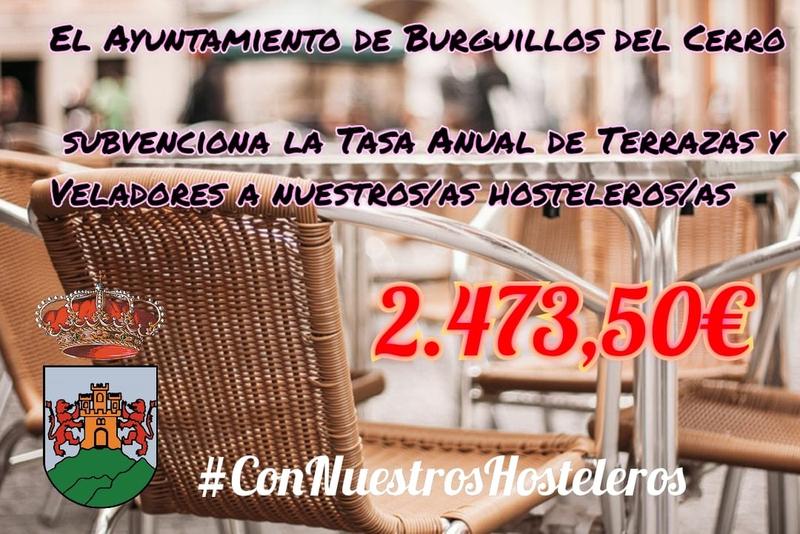 El Ayuntamiento de Burguillos del Cerro subvencionará la tasa anual de veladores y terrazas correspondiente a 2021