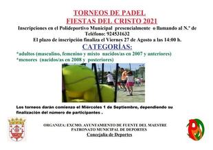 El Patronato Municipal de Deportes de Fuente del Maestre organiza un Torneo de Pádel con motivo de las Fiestas del Cristo