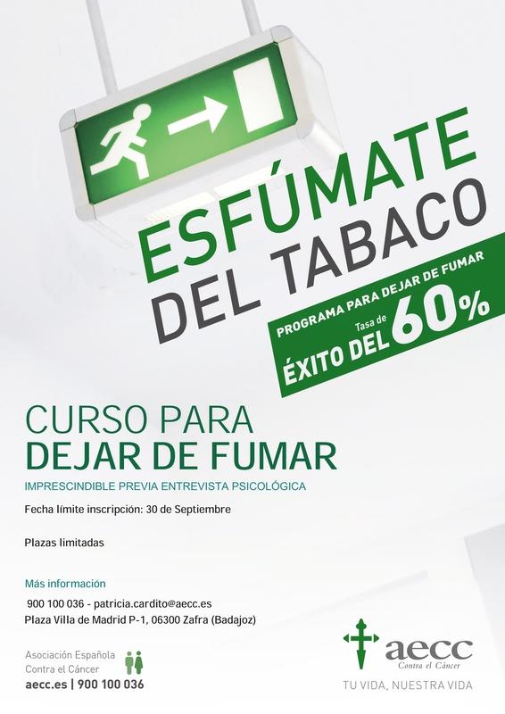 La AECC comienza en octubre nuevos cursos online para dejar de fumar en Zafra