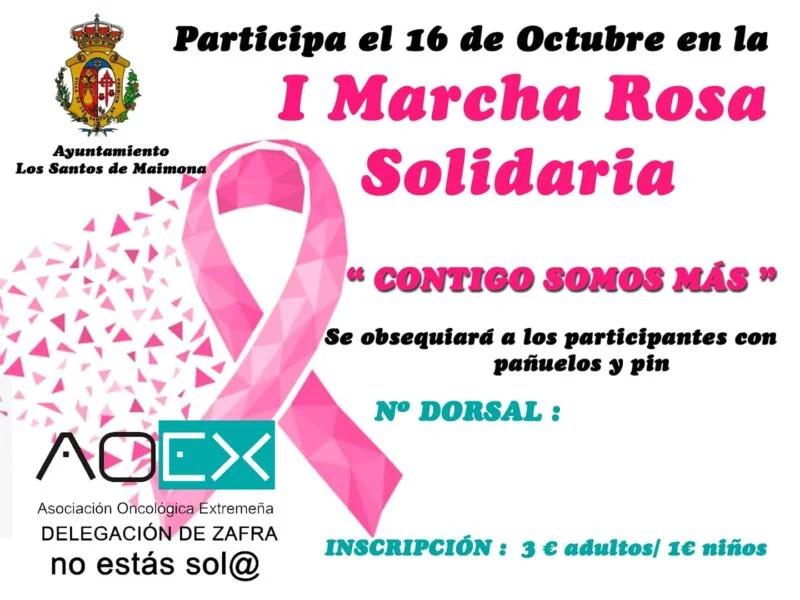 La AOEX conmemora el Día Internacional del Cáncer de Mama en Los Santos con la I Marcha Rosa Solidaria
