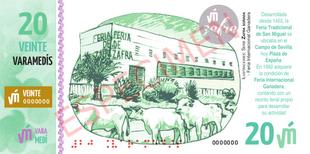 El billete de 20 Varamedís que será presentado en el Pabellón Institucional está íntegramente dedicado a la Feria de Zafra