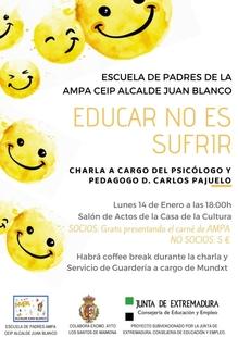 """Carlos Pajuelo estará esta tarde en la casa de la cultura con la charla """"Educar no es sufrir"""""""