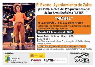 El espectáculo de circo-teatro Mobil se representa este sábado 19 de octubre en el Teatro de Zafra